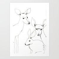 Deers and Rabbit Art Print