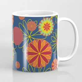 Patterns Sun Flower Royal Blue Decor Color Vector Coffee Mug