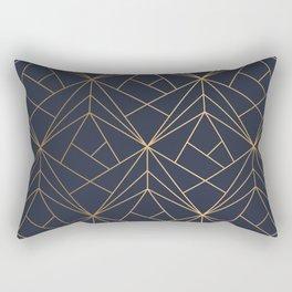 Navy blue Gold Geometric Pattern With White Shimmer Rectangular Pillow