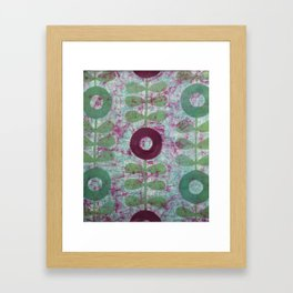 Zinnias in Purple and Green Framed Art Print
