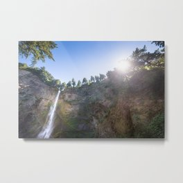 View of Multnomah Falls surrounded by forest in Oregon Metal Print