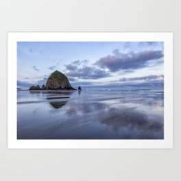 Haystack Rock at Low Tide in Early Morning Art Print