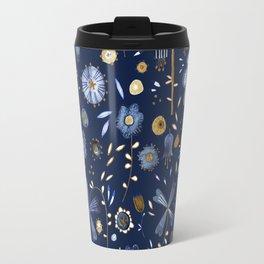 Indigo Flowers at Midnight Travel Mug