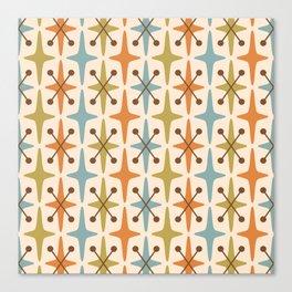 Mid Century Modern Abstract Star Pattern 441 Orange Brown Blue Olive Green Canvas Print
