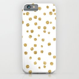 Gold glitter confetti on white - Metal gold dots iPhone Case