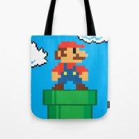 mario bros Tote Bags featuring Mario Bros by WaXaVeJu