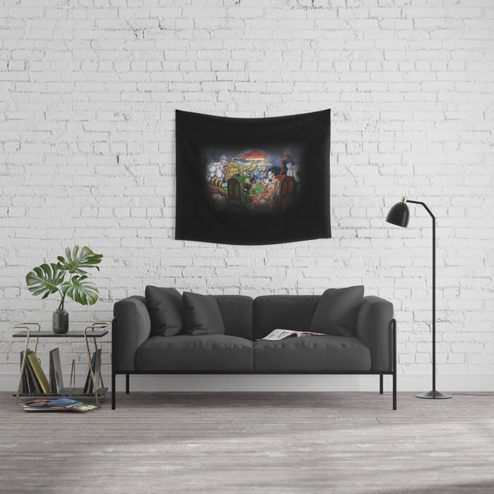 Gods Playing Poker Wall Tapestry