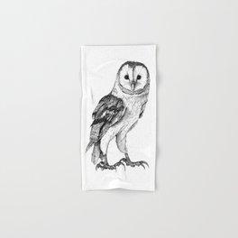 Barn Owl - Drawing In Black Pen Hand & Bath Towel