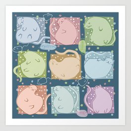 Blobby Cats dark Art Print
