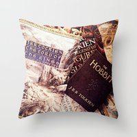 tolkien Throw Pillows featuring Tolkien Books by Apples and Spindles