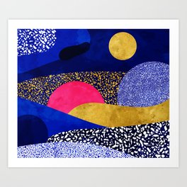 Terrazzo galaxy blue night yellow gold pink Art Print