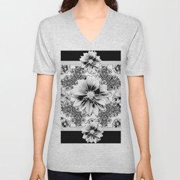 Black & White Geometric Floral Unisex V-Neck