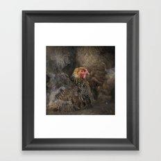 Little Brown Hen Framed Art Print