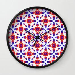 Red & Blue Geometric Pattern Wall Clock