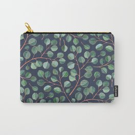 Simple Silver Dollar Eucalyptus Leaves on Navy Carry-All Pouch