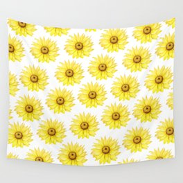 Sunflowers On White Wall Tapestry