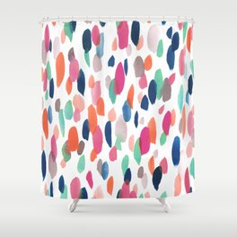 Watercolor Dashes Shower Curtain