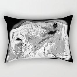 icebear polarbear enjoying vector art black white Rectangular Pillow