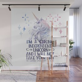 I am a strong independent unicorn - The lightning struck heart Wall Mural