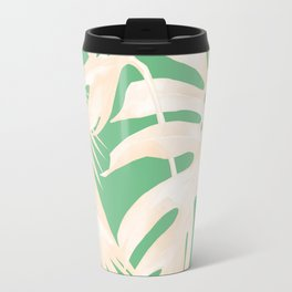 Tropical Coral Green Palm Leaf Pattern Travel Mug