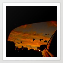 Fiery Red Sunset in Rearview Mirror Art Print