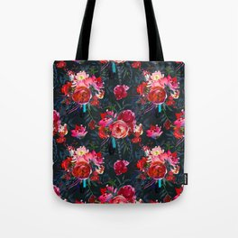 Cheerful Bright Magenta and  Pink Bouquets with Feathers on Black Tote Bag