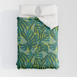 Monstera Leaves in Teal Comforters