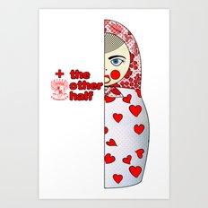 Matryoshka Hearts Left Art Print