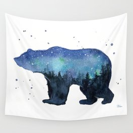 Forest Bear Silhouette Watercolor Galaxy Wall Tapestry