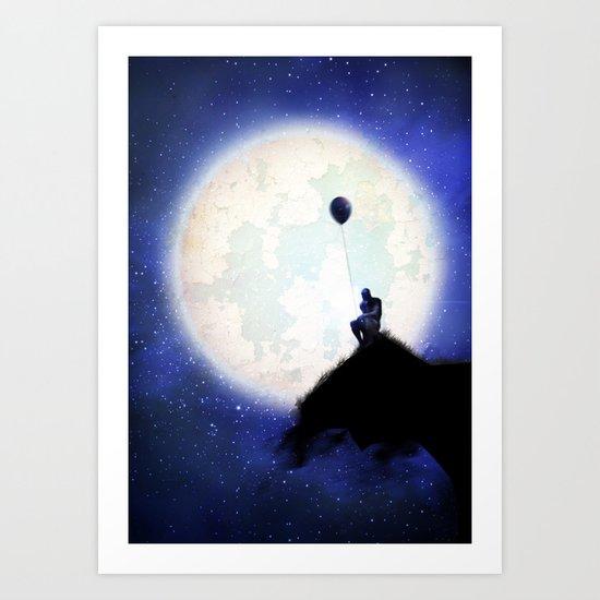 The man & the moon Art Print