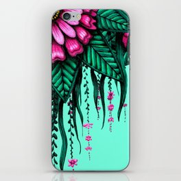 Beautiful Bold Pink Green Delicate Hanging Flowers iPhone Skin