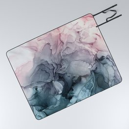 Blush and Payne's Grey Flowing Abstract Painting Picnic Blanket