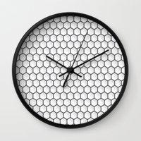 hexagon Wall Clocks featuring Design Hexagon by ArtSchool