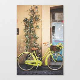 Green bicycle in Rome Canvas Print