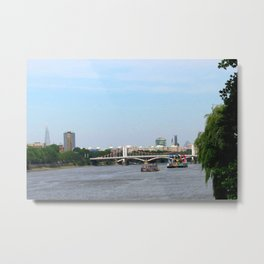 View of the River Thames from the Albert Bridge in London Metal Print