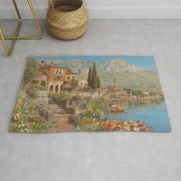 Lakeside View of Riva and Flower Gardens on Lake Garda, Italy landscape painting Rug