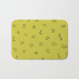 Yellow Monster Pattern Bath Mat