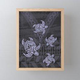 Fijian Dark Matter Tribal Turtle Abstract Framed Mini Art Print