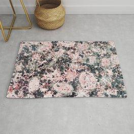 Rustic vintage black pastel pink marble Rug