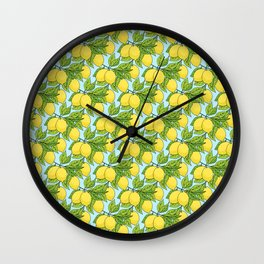 Doodle Lemons - Summer Pattern Wall Clock