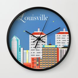 Louisville, Kentucky - Skyline Illustration by Loose Petals Wall Clock