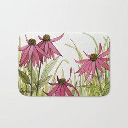 Pink Garden Flower Coneflower Bath Mat