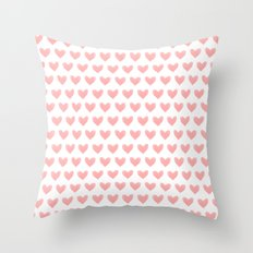 Coral Pink Watercolor Hearts Throw Pillow