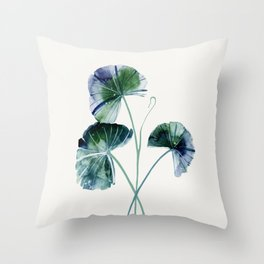 Water lily leaves Throw Pillow