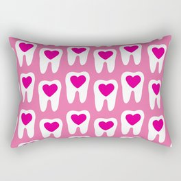 Teeth pattern with hearts in the center on pink background Rectangular Pillow