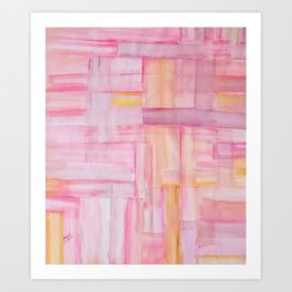 Pink Minimalist Acrylic Art Painting Art Print