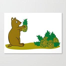Pineapple Harvesting Bear Canvas Print