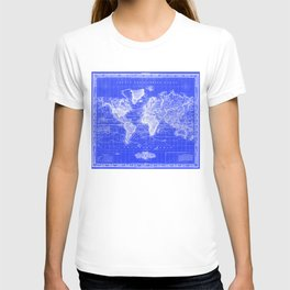 Vintage Map of The World (1833) Blue & White T-shirt
