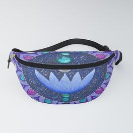 Lotus and Moon Phases Jewelled Mandala Fanny Pack