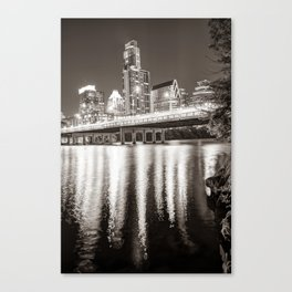 Austin Skyline Over Lady Bird Lake Reflections - Sepia Edition Canvas Print